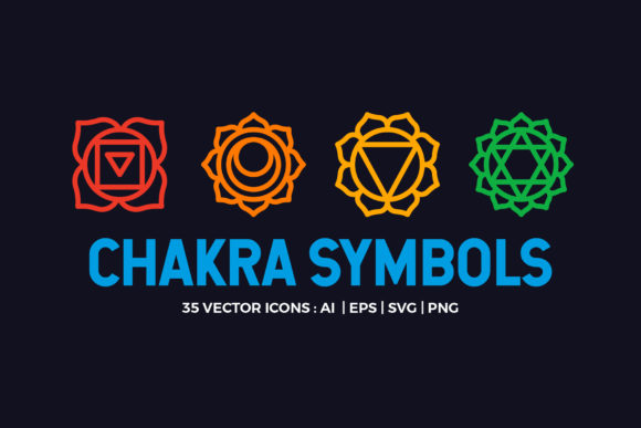 Chakra Symbols Set Spiritual Vector Graphic Icons By abstractocreate