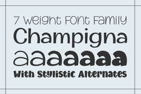 Print on Demand: Champigna Family Sans Serif Font By Royaltype