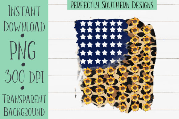 Print on Demand: Cheetah and Sunflower Flag Graphic Crafts By PerfectlySouthernDesigns