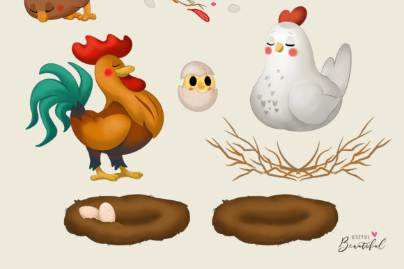 Chickens Clipart Collection Graphic Illustrations By usefulbeautiful - Image 3