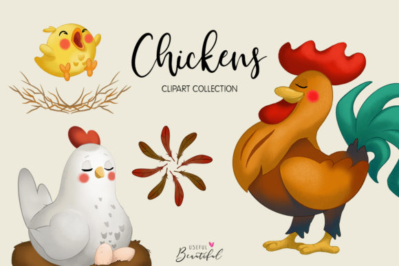 Chickens Clipart Collection Graphic Illustrations By usefulbeautiful