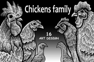 Download Free Chickens Family Art Design Graphic By Sebrodbrick Creative Fabrica for Cricut Explore, Silhouette and other cutting machines.