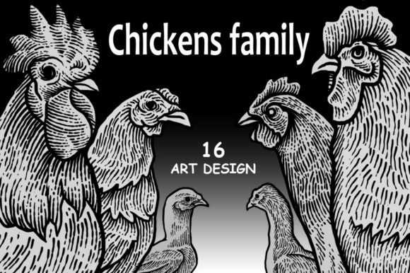 Print on Demand: Chickens Family Art Design Graphic Illustrations By sebrodbrick
