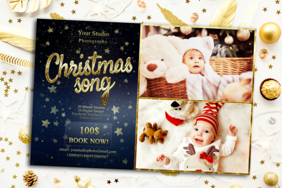 Christmas Song Mini Session Template Graphic Print Templates By 2SUNSoverlays