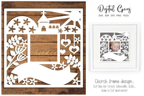 Download Free Chrurch Frame Design Graphic By Digital Gems Creative Fabrica for Cricut Explore, Silhouette and other cutting machines.