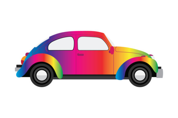 Download Free Classic Bug Car Clip Art Graphic By Running With Foxes for Cricut Explore, Silhouette and other cutting machines.