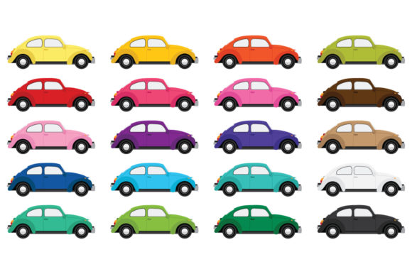 Print on Demand: Classic Bug Car Clip Art Graphic Objects By Running With Foxes