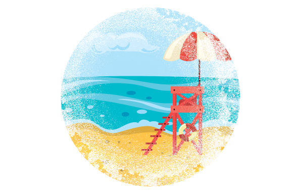 Color Retro Distressed Beach with Lifeguard Chair Nature & Outdoors Craft Cut File By Creative Fabrica Crafts
