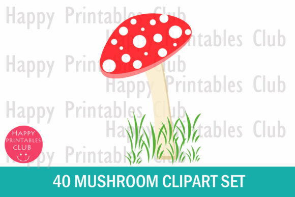 Download Free Colorful Mushroom Clipart Graphic Set Graphic By Happy for Cricut Explore, Silhouette and other cutting machines.