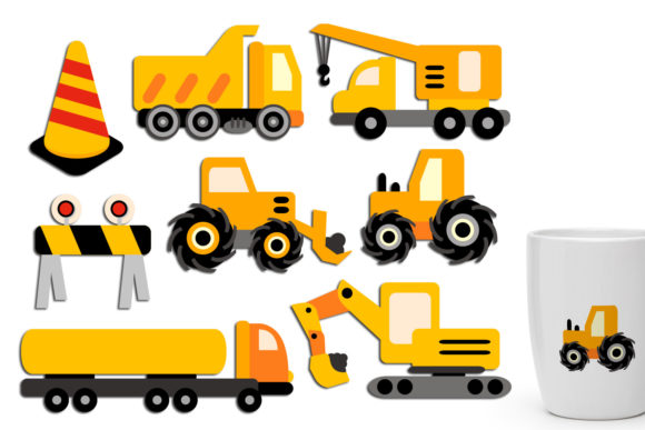 Print on Demand: Construction Trucks Graphic Illustrations By Revidevi - Image 1