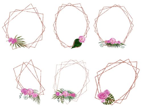 Print on Demand: Copper Floral Polygonal Frames Graphic Illustrations By fantasycliparts - Image 3