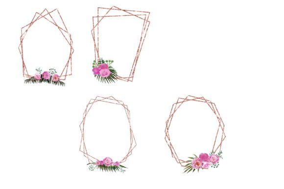 Print on Demand: Copper Floral Polygonal Frames Graphic Illustrations By fantasycliparts - Image 4