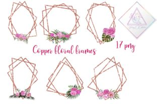 Copper Floral Polygonal Frames Graphic By fantasycliparts