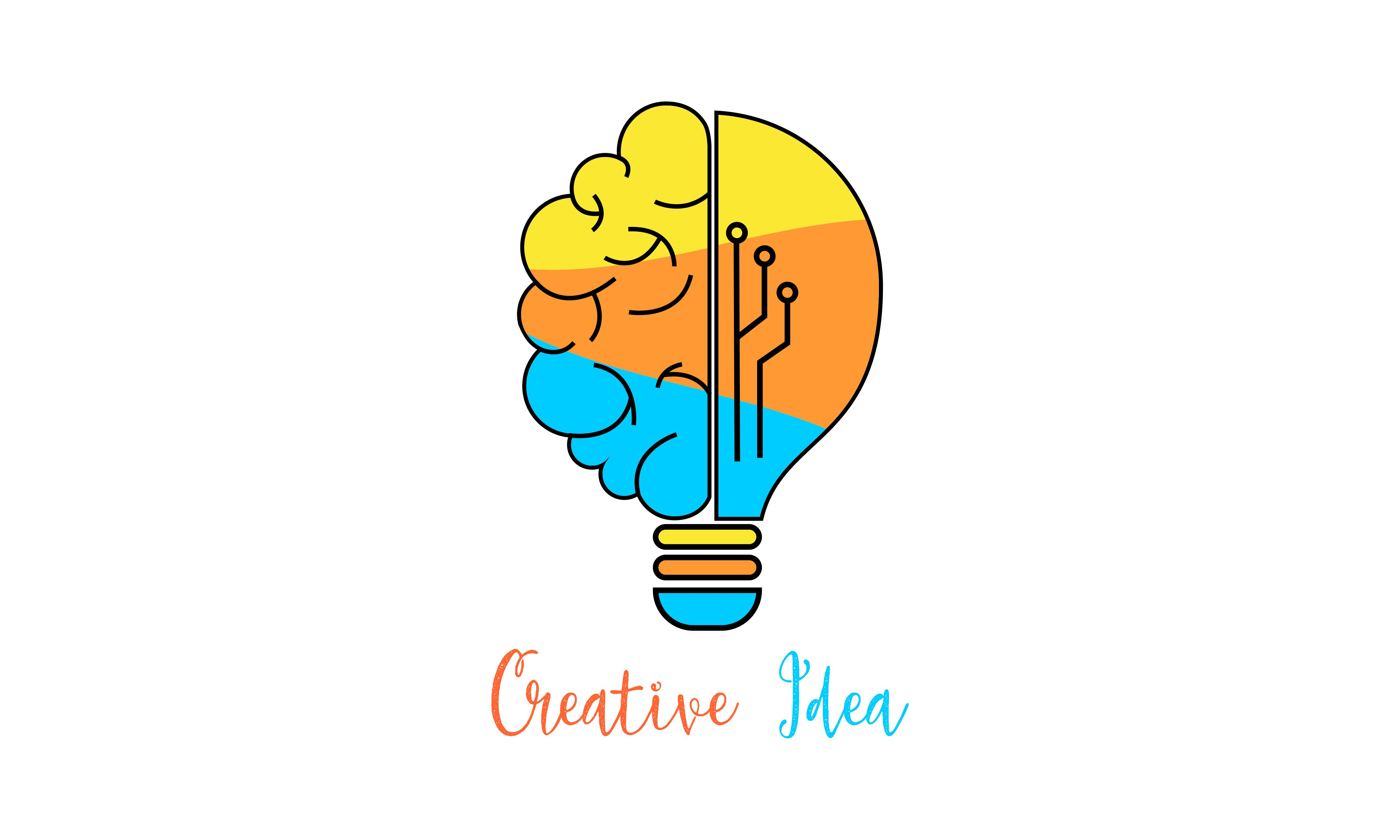 Download Free Creative Idea Mind Logo Vector Graphic By Deemka Studio Creative Fabrica for Cricut Explore, Silhouette and other cutting machines.