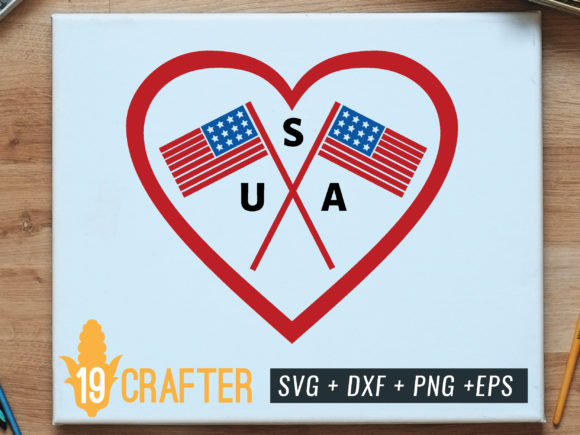 Print on Demand: Crossed American Flag Inside Heart Graphic Crafts By great19