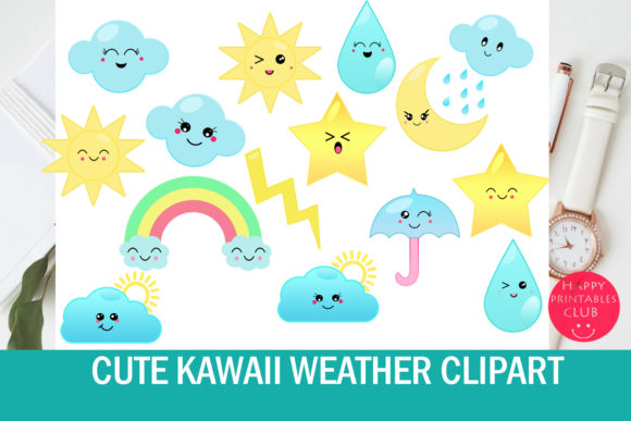Download Free Cute Kawaii Weather Clipart Graphic By Happy Printables Club for Cricut Explore, Silhouette and other cutting machines.