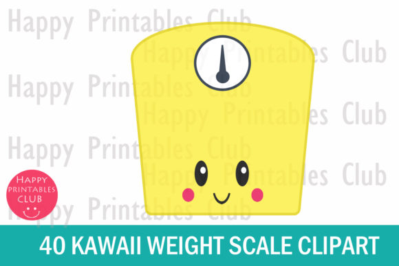 Print on Demand: Cute Kawaii Weight Scale Clipart Graphic Illustrations By Happy Printables Club - Image 2