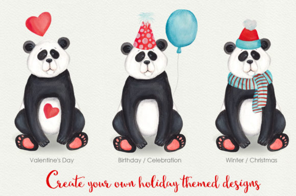Print on Demand: Cute Little Panda Watercolor Clipart Graphic Illustrations By SLS Lines - Image 2