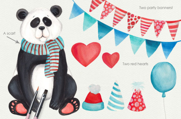 Print on Demand: Cute Little Panda Watercolor Clipart Graphic Illustrations By SLS Lines - Image 3
