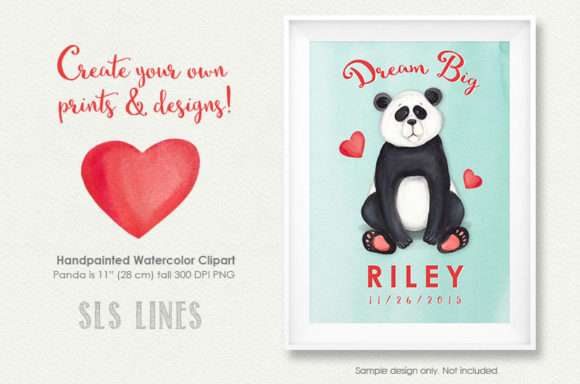 Print on Demand: Cute Little Panda Watercolor Clipart Graphic Illustrations By SLS Lines - Image 4