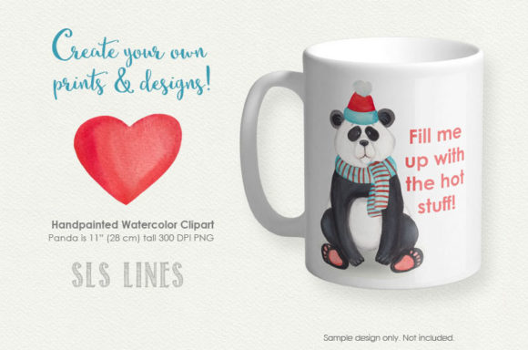 Print on Demand: Cute Little Panda Watercolor Clipart Graphic Illustrations By SLS Lines - Image 5