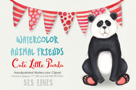 Print on Demand: Cute Little Panda Watercolor Clipart Graphic Illustrations By SLS Lines - Image 1