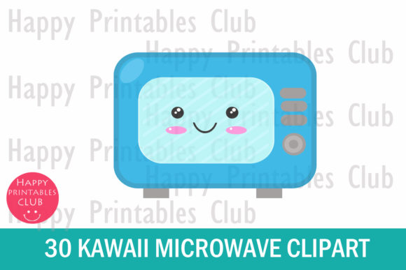 Download Free Cute Microwave Clipart Kawaii Microwave Graphic By Happy for Cricut Explore, Silhouette and other cutting machines.