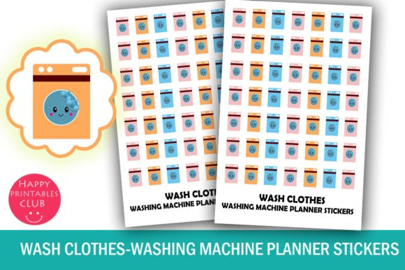 Print on Demand: Cute Wash Clothes Planner Stickers Graphic Illustrations By Happy Printables Club - Image 1