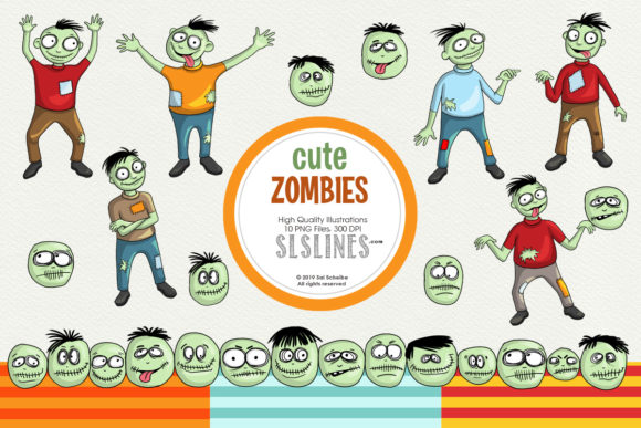 Print on Demand: Cute & Whimsical Zombie Illustrations Graphic Illustrations By SLS Lines