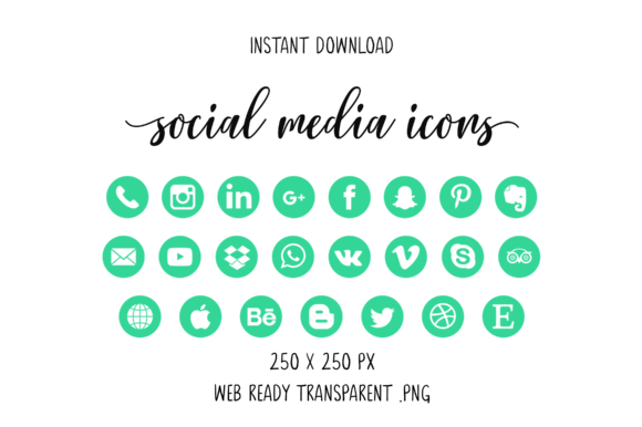 Dark Mint Social Media Icons Graphic By The Branding Place