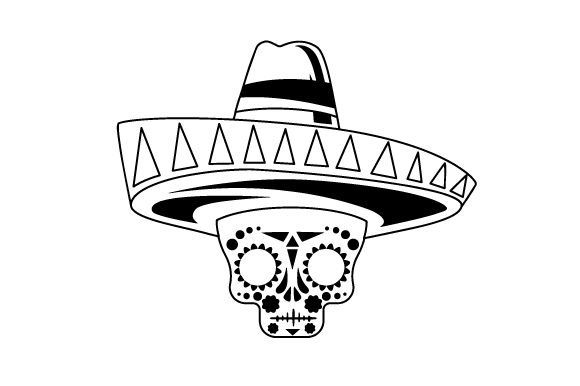 Day Of Dead Mask With A Sombrero Svg Cut File By Creative