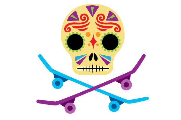 Download Free Day Of The Dead Mask With 2 Skateboards Crossing Underneath Svg for Cricut Explore, Silhouette and other cutting machines.