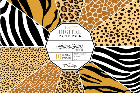 Print on Demand: Digital Papers Africa Skins 01 Graphic Patterns By Maishop