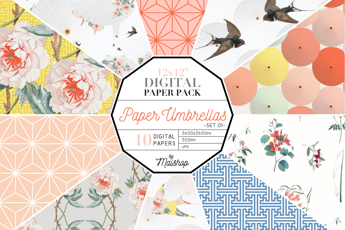 Download Free Paper Umbrella Set Graphic By Maishop Creative Fabrica for Cricut Explore, Silhouette and other cutting machines.