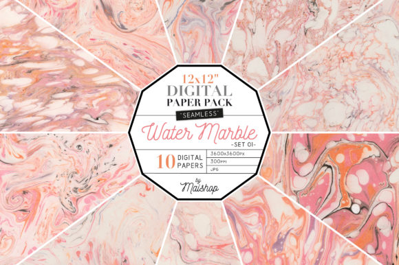 Print on Demand: Water Marble Digital Papers Graphic Patterns By Maishop
