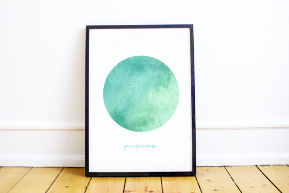 Digital Print, Printable Pisces Zodiac Graphic By Inkclouddesign