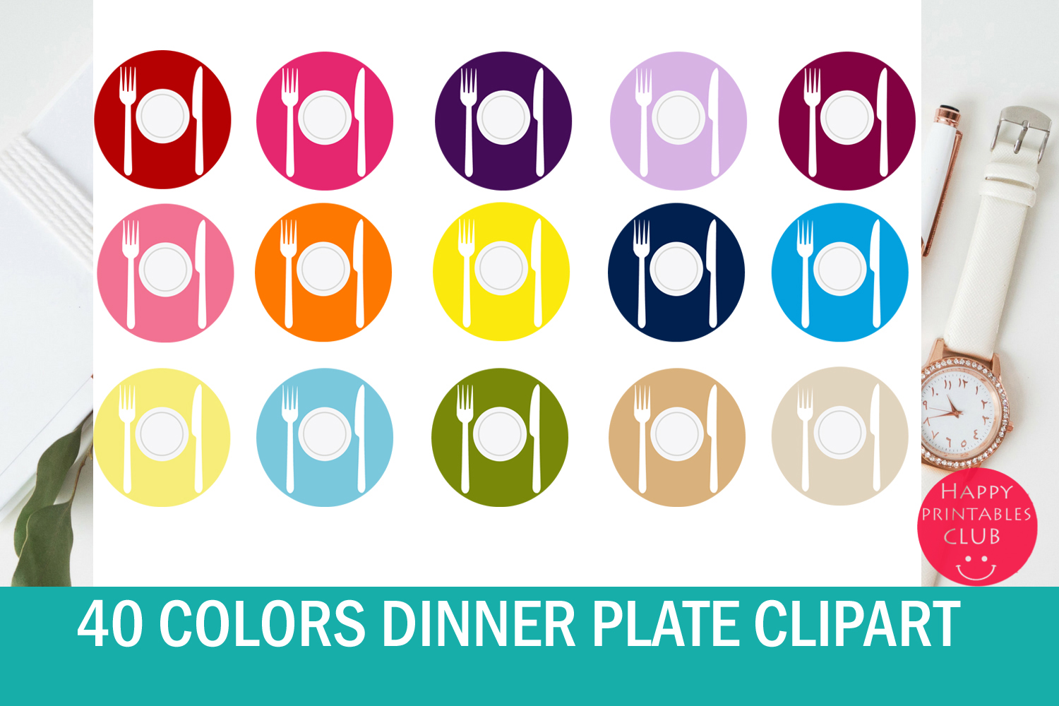 Download Free Dinner Plate Clipart Colored Plates Graphic By Happy Printables for Cricut Explore, Silhouette and other cutting machines.