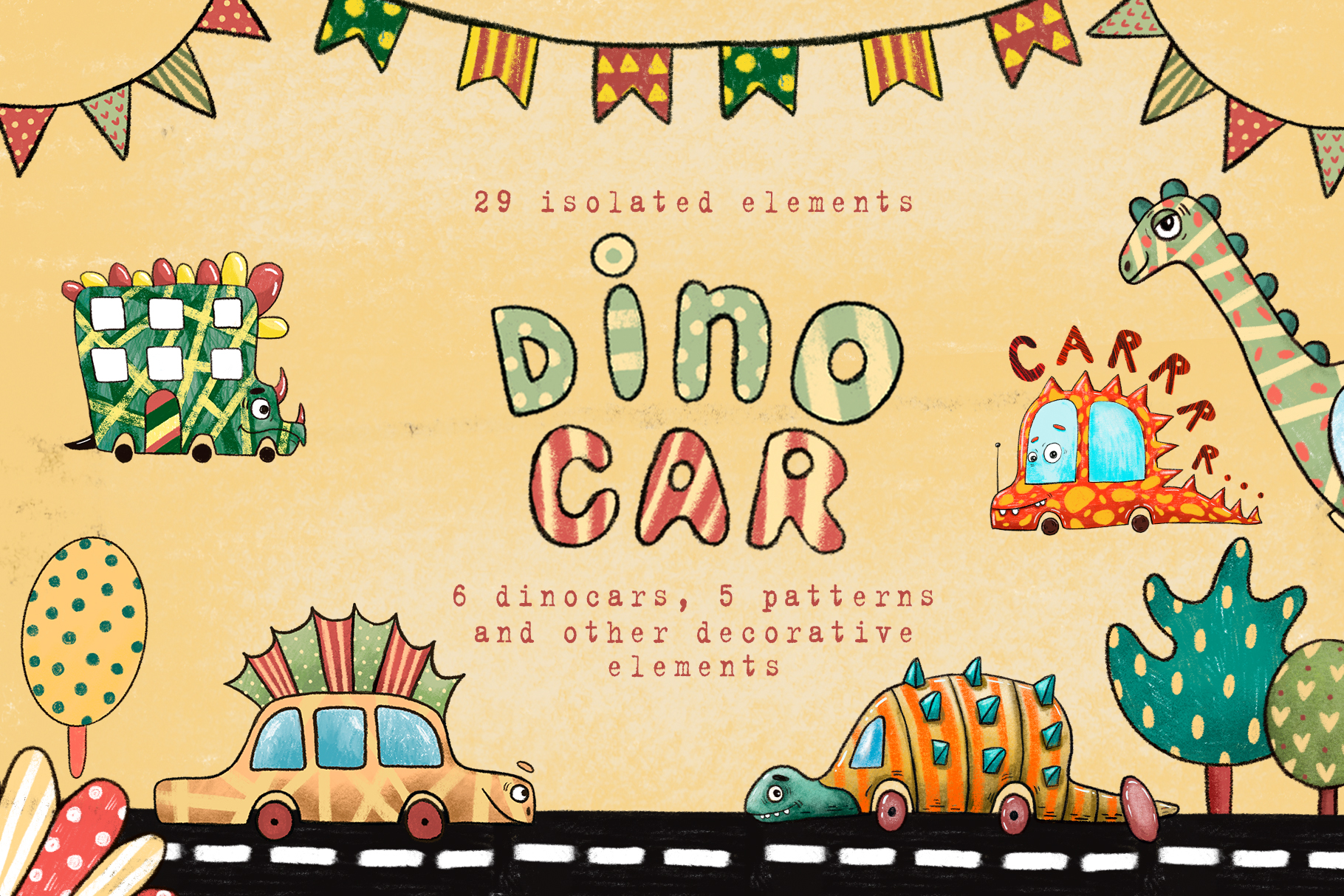 Download Free Dino Car Clip Art Set Graphic By Mashamashastu Creative Fabrica for Cricut Explore, Silhouette and other cutting machines.