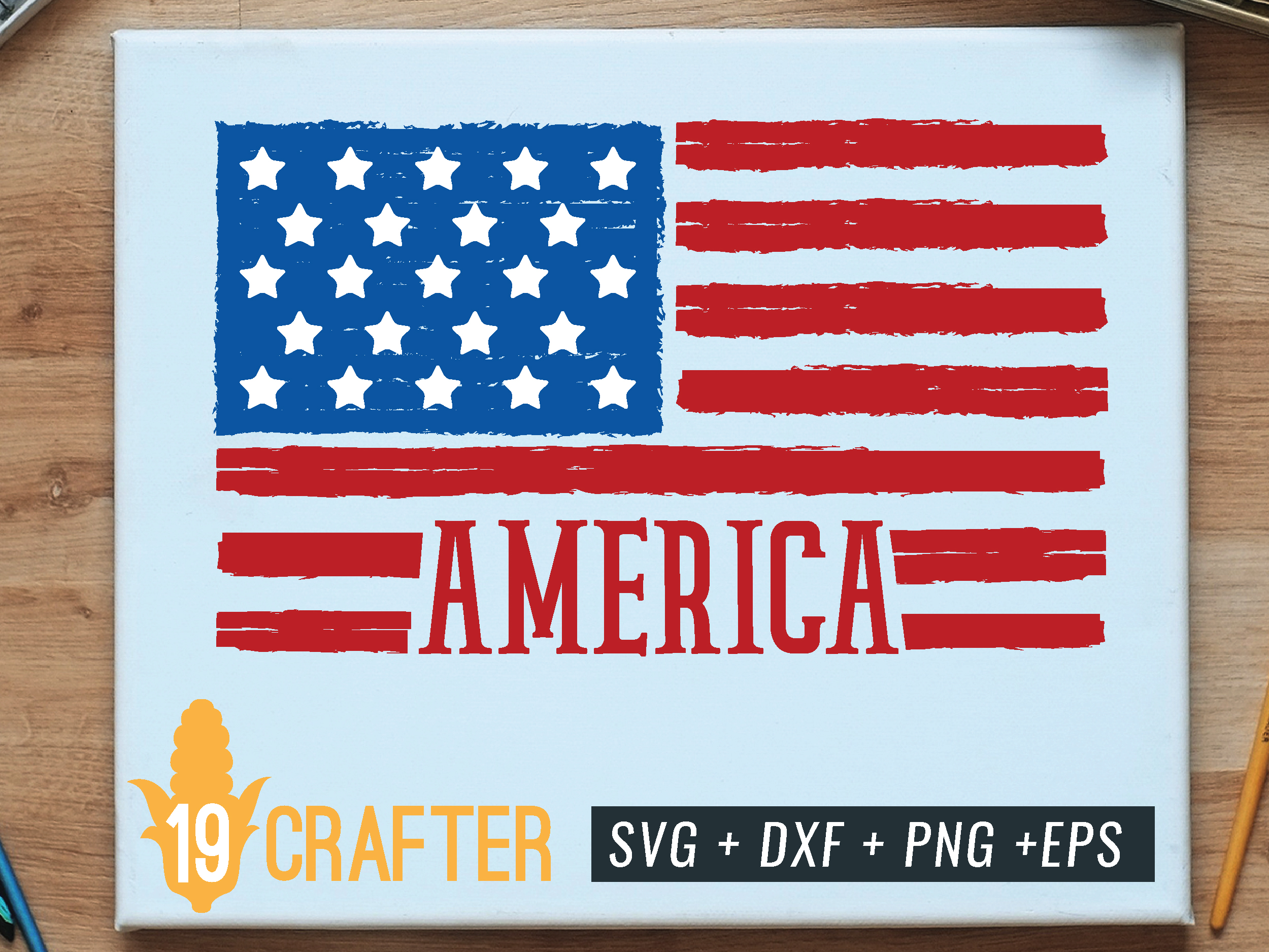 Download Free Distressed American Flag Graphic By Great19 Creative Fabrica for Cricut Explore, Silhouette and other cutting machines.