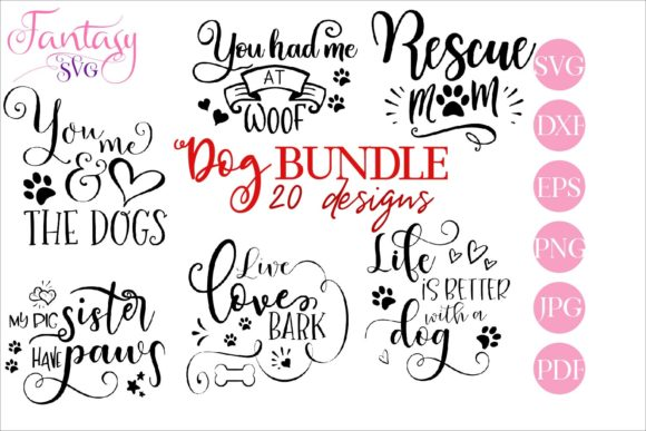 Print on Demand: Dog BUNDLE Svg Cut Files Graphic Crafts By Fantasy SVG