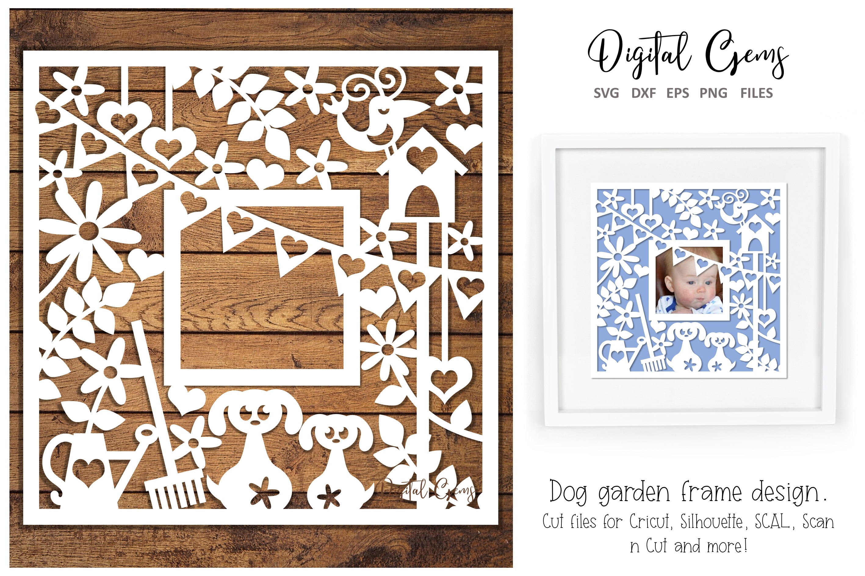 Download Free Dog Gardening Frame Design Graphic By Digital Gems Creative for Cricut Explore, Silhouette and other cutting machines.