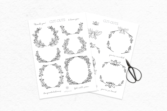Doodle Flower Clipart and Digital Stamps