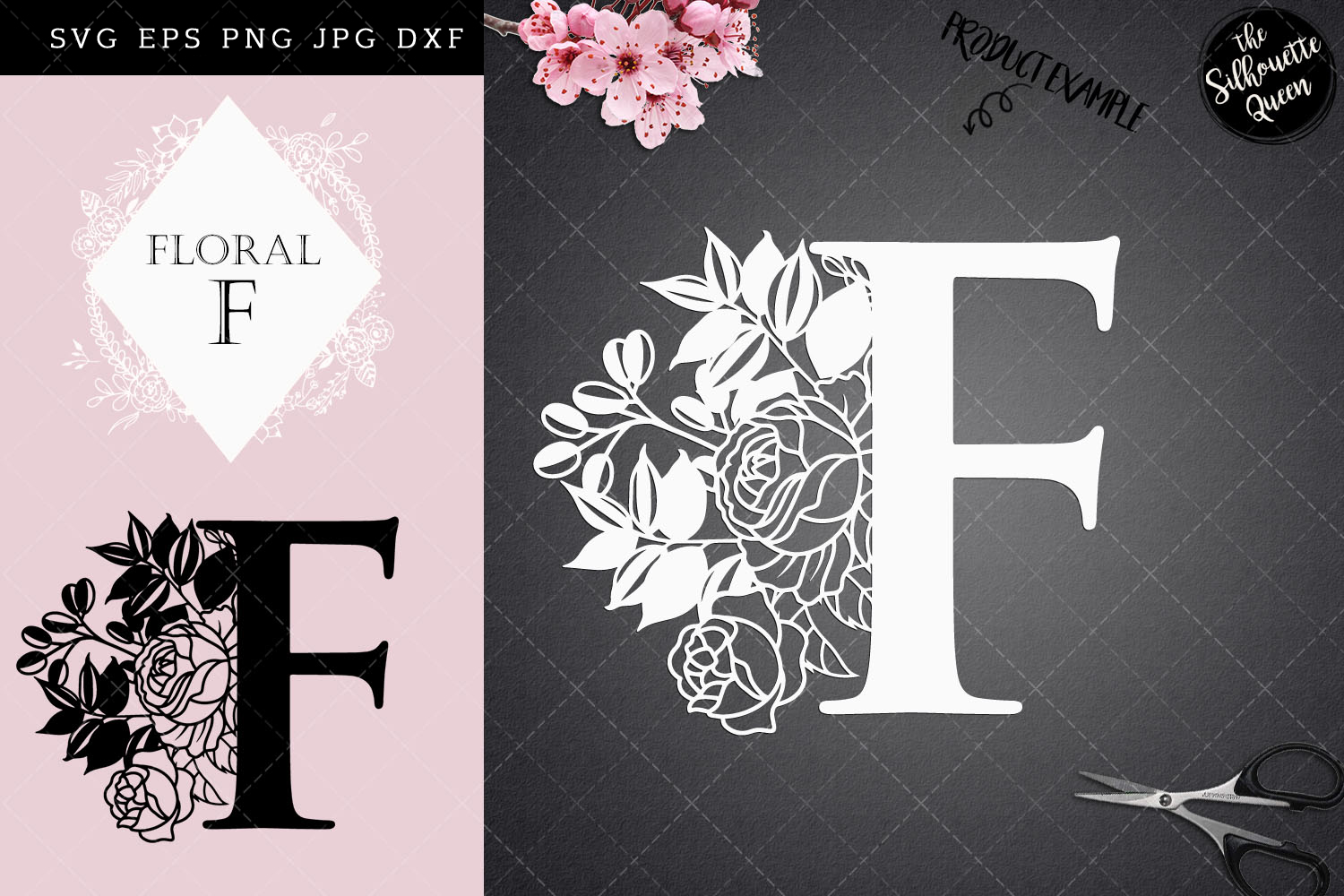 Download Free F Floral Letter Design Paper Cut Graphic By for Cricut Explore, Silhouette and other cutting machines.