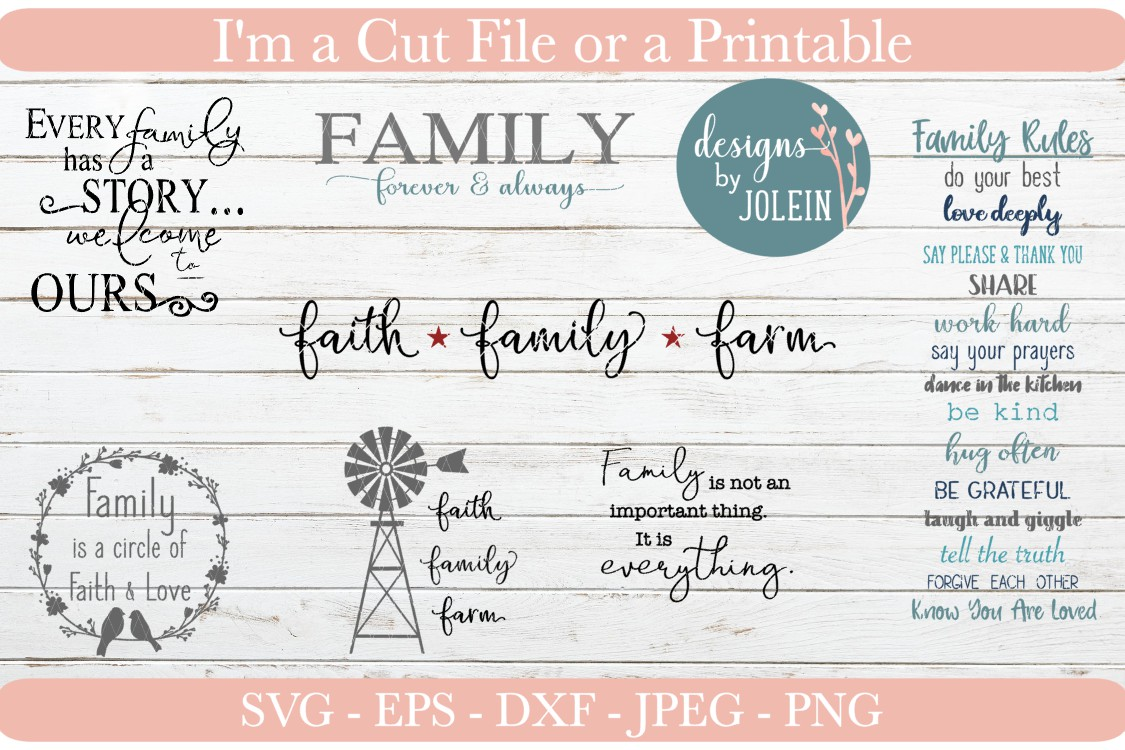 Download Free Family Designs Bundle Graphic By Designs By Jolein Creative for Cricut Explore, Silhouette and other cutting machines.