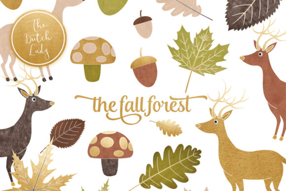 Print on Demand: Fall Forest Clipart Set Graphic Illustrations By daphnepopuliers
