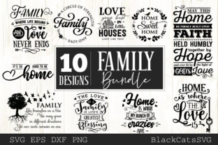 Print on Demand: Family and Home Bundle 10 Designs Graphic Crafts By BlackCatsMedia