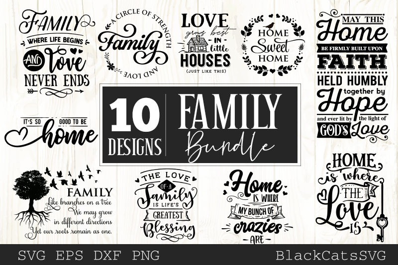 Download Free Family And Home Bundle 10 Designs Graphic By Blackcatsmedia Creative Fabrica for Cricut Explore, Silhouette and other cutting machines.