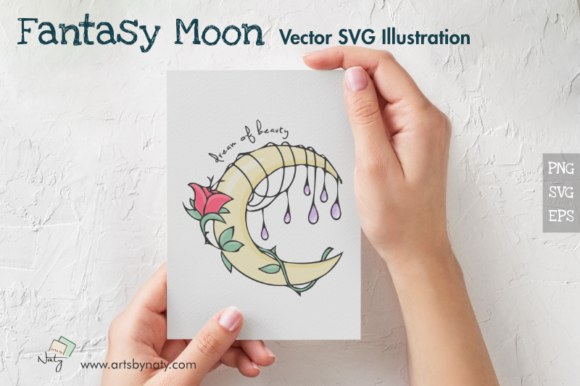 Download Free Fantasy Moon Vector Svg Illustration Graphic By Artsbynaty for Cricut Explore, Silhouette and other cutting machines.