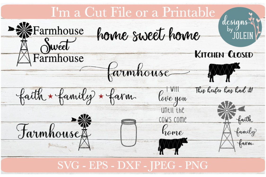 Download Free Farmhouse Bundle4 Graphic By Designs By Jolein Creative Fabrica for Cricut Explore, Silhouette and other cutting machines.