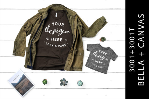 Father Son Bella Canvas 3001 Mockup Tees Graphic Product Mockups By lockandpage
